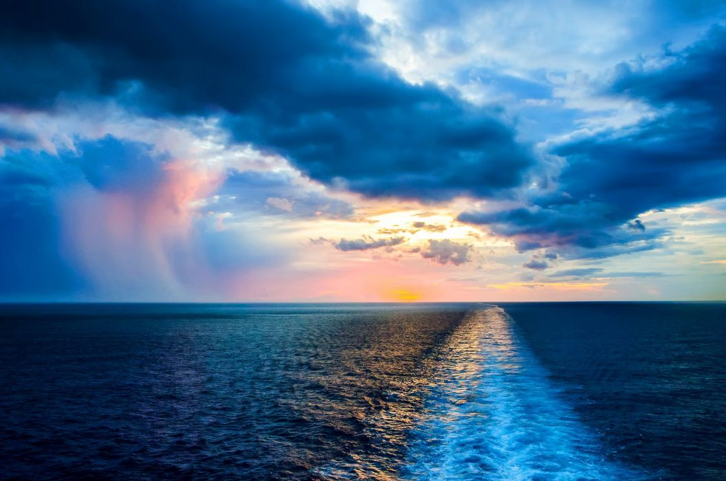 Sunrise and sunset Sea Sky Clouds Nature wallpaper