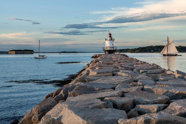 USA Coast Lighthouse Sailing Stones Portland Cape Elizabeth Nature sea wallpaper