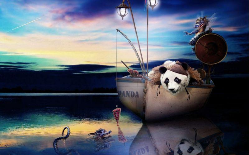 FISHING fish panda pizza humor funny underwater lake wallpaper