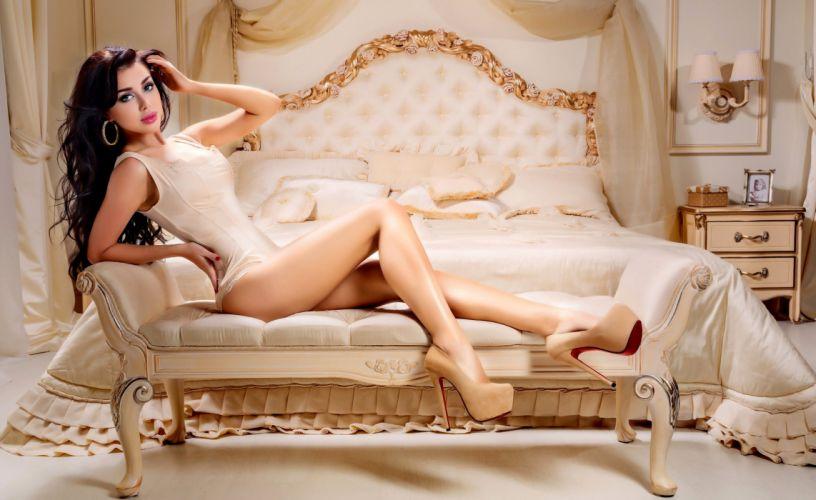 legs girl fashion model heels sexy sofa woman wallpaper