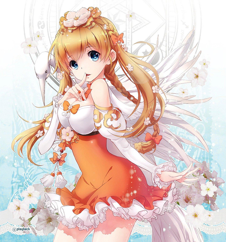 Anime Kawaii Cute Girl Animal Flower Sakura Blue Sky Dress Wallpaper
