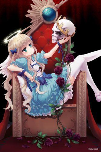 angel alone girl rose red blue dress pink long hair flower wallpaper