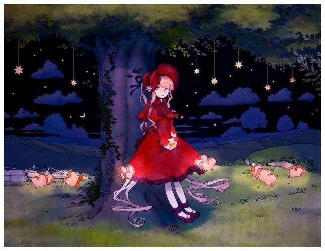tree dark night stars red dress alone girl cloud wallpaper