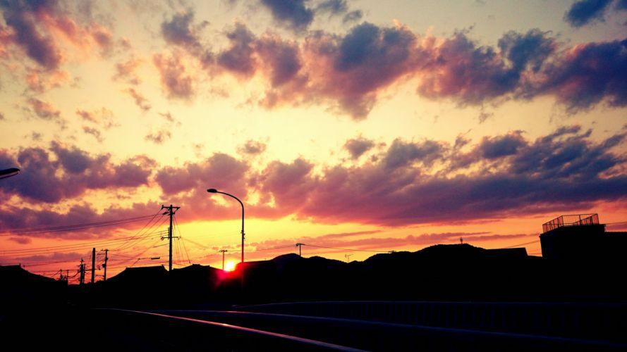 sky anime sun sunset clouds amazing beautiful wallpaper