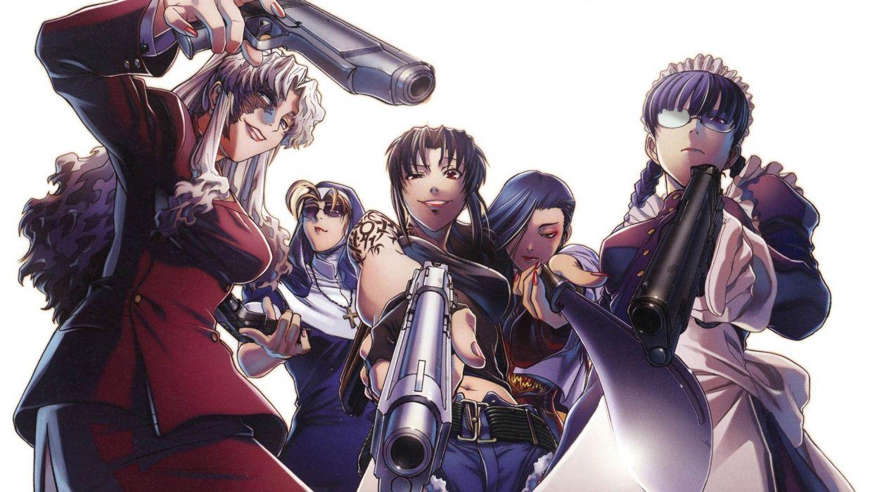 cool anime sword girls weapons white wallpaper