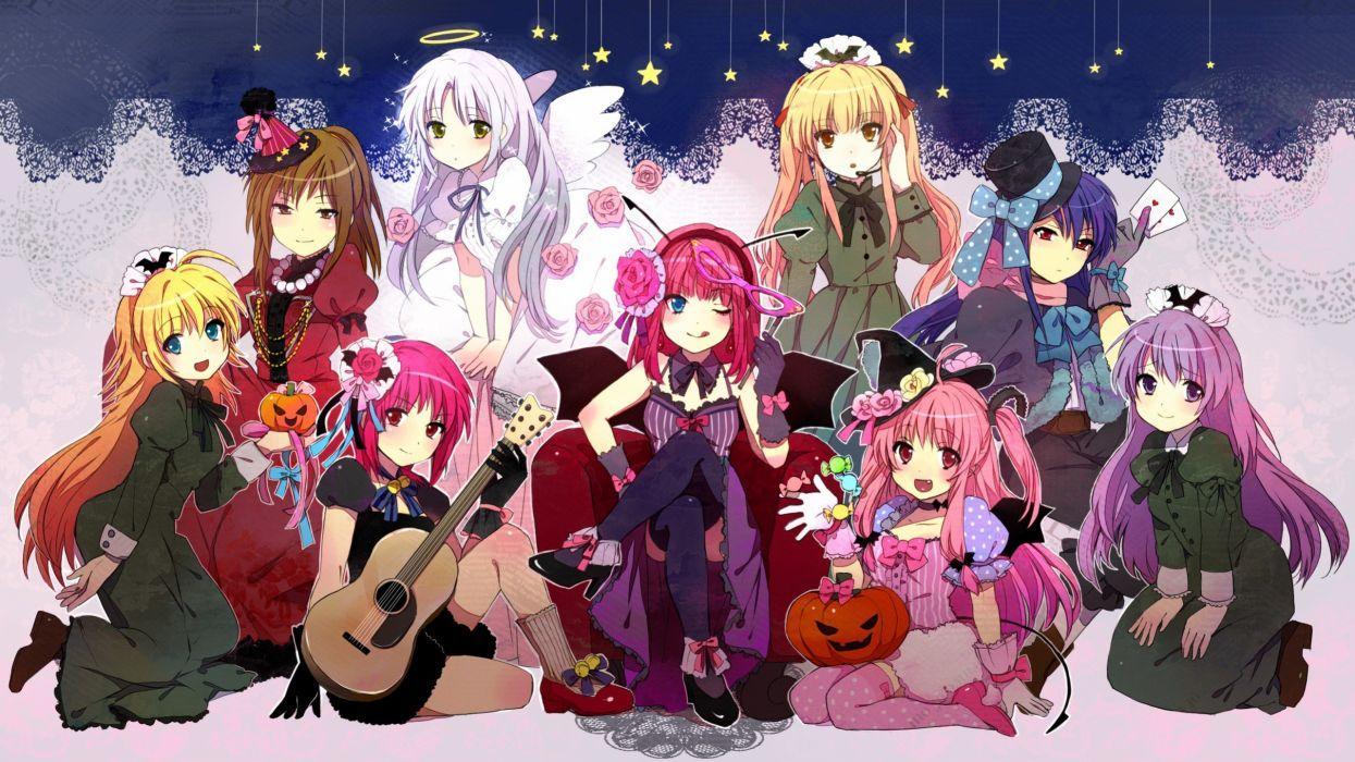 Angel Beats Anime Series Character Group Girls Flower Pink Rose Guitar Witch Kawaii Cute Wallpaper 2560x1440 Wallpaperup