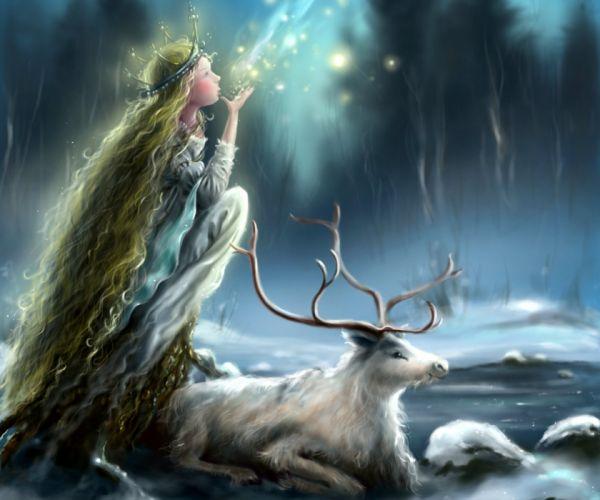 lights ice snow mania Horns princess face animal long hair girl profile deer winter wallpaper