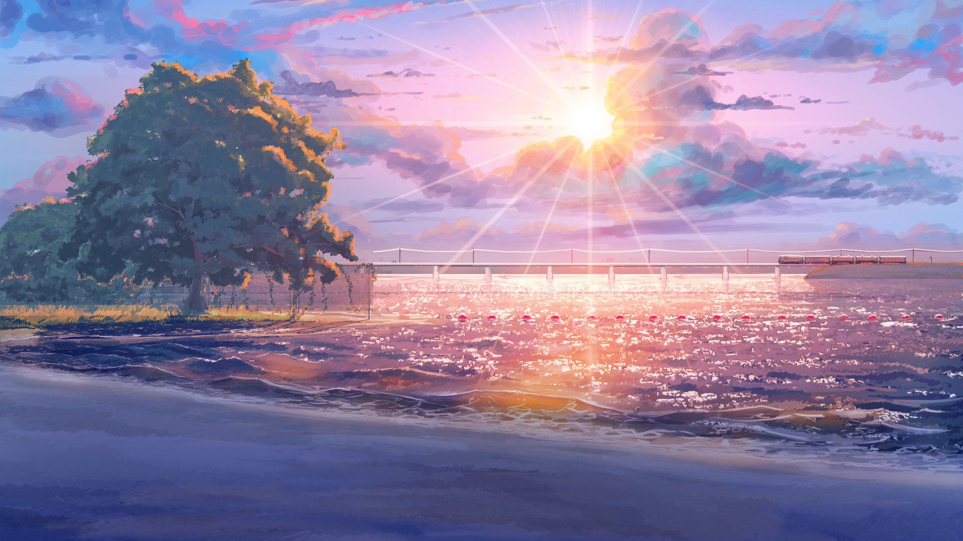 Beach Endless Summer anime sun tree sky cloud amazing ...