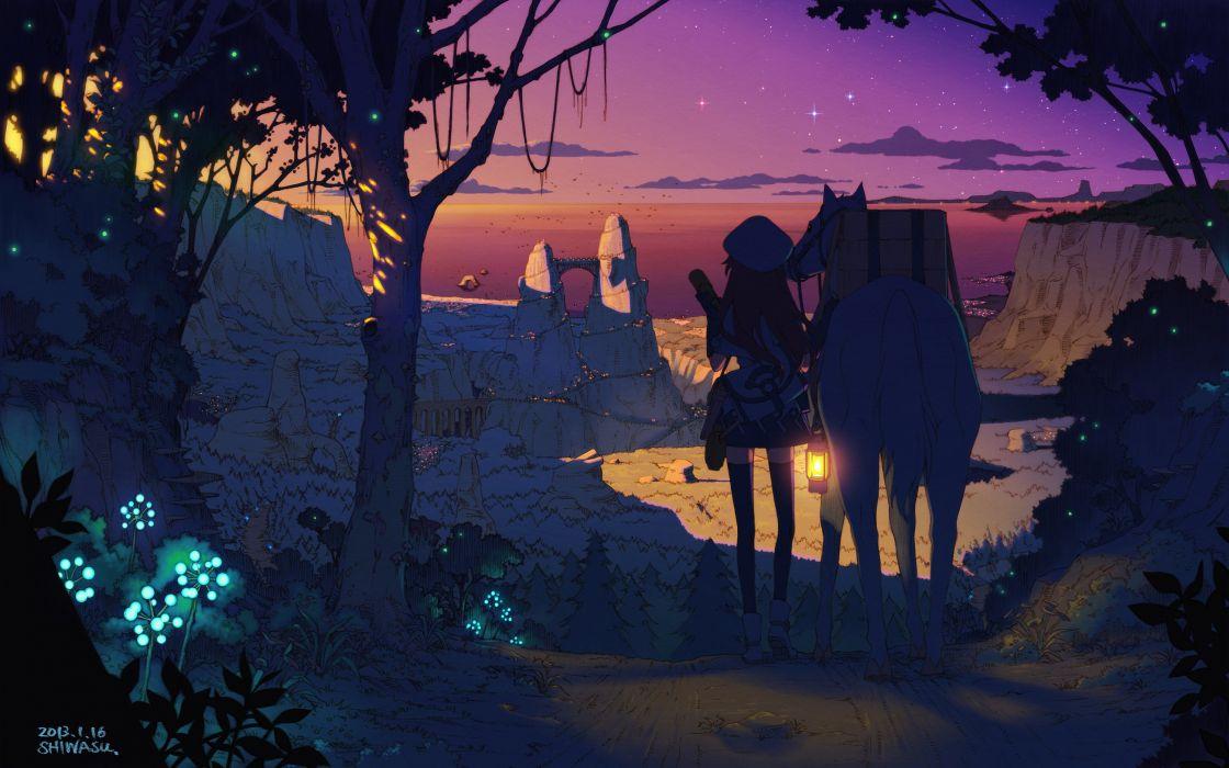 Star Girl Cap Sunset Nature City Art Sky Trees Forest
