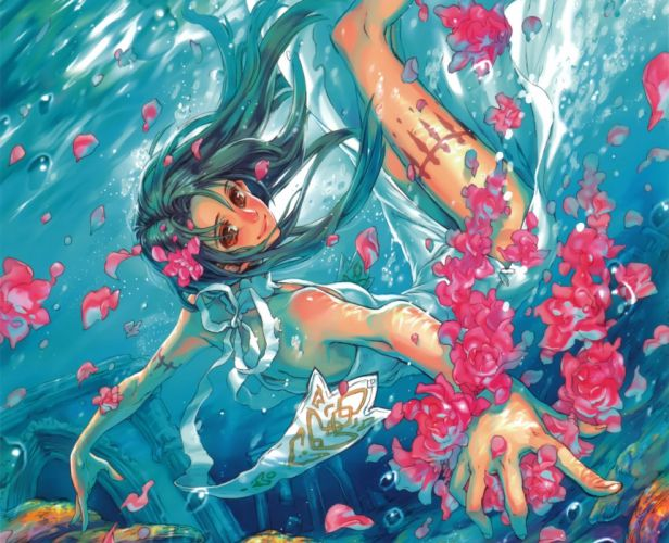 Art girl anime Petals underwater bubbles Flowers wallpaper