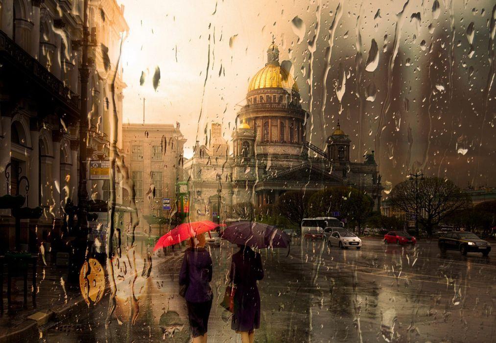 Isaac Rain Petersburg Yellow Beautiful City Red Umbrella Wallpaper