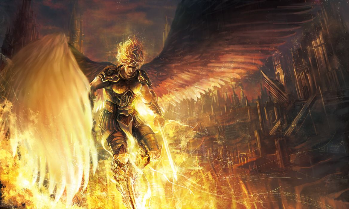 weapon sword angel armor sky guy city wings Art clouds home wallpaper