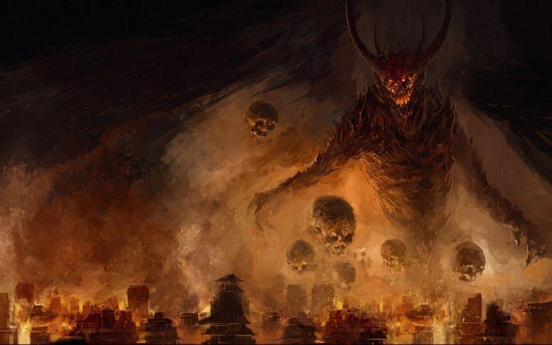 city Spikes gloom fire demon wings skull fear wallpaper