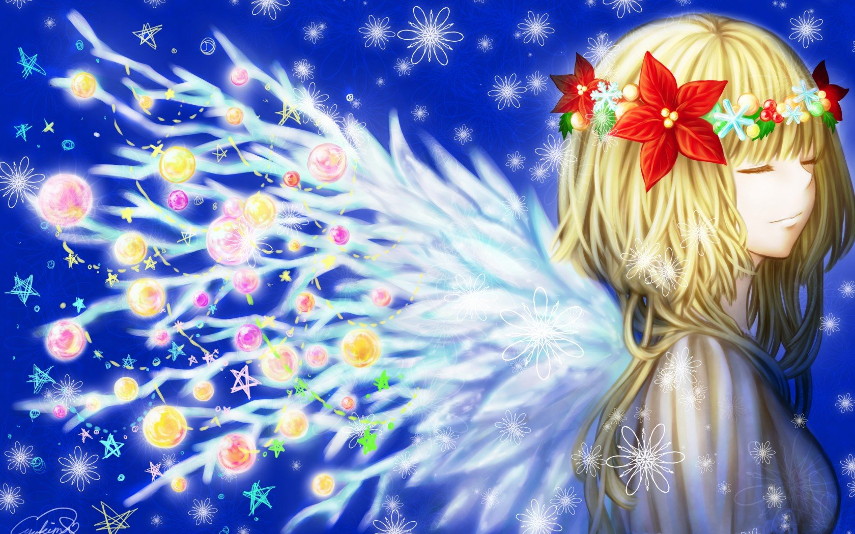 Girl Toys anime Christmas New Year Winter wreath wings Snowflakes ...