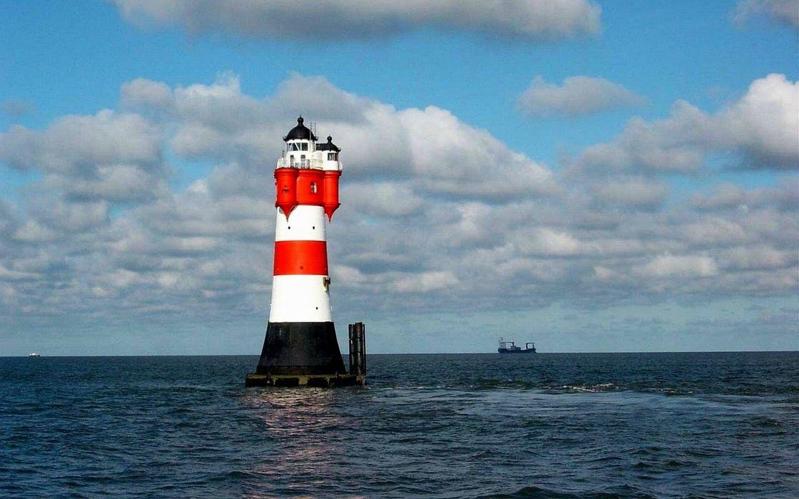 Lighttower lighthouse RoterSand weser germany wallpaper