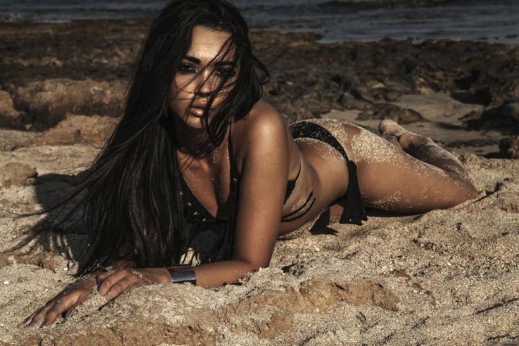 sensual model brunette summer woman wallpaper