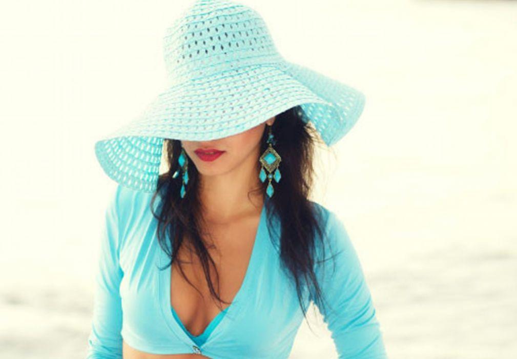woman incognito hat blue brunette wallpaper