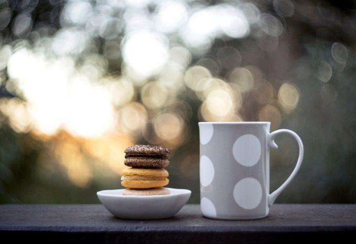 mug cookies food cup sweets macaroon bokeh wallpaper