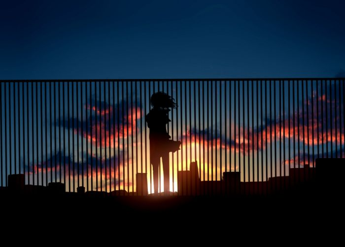 fence Art sunset silhouette home clouds girl anime sun sky wallpaper