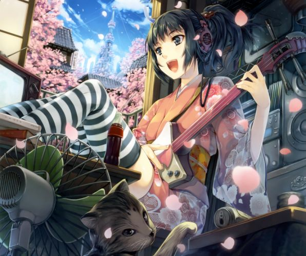 clouds COTE Petals anime girl BANK Sakura Art FAN headphones guitar kimono sky trees bottle TV home wallpaper