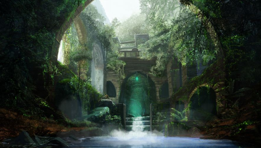 fantasy thicket water arch people Art ruins wallpaper