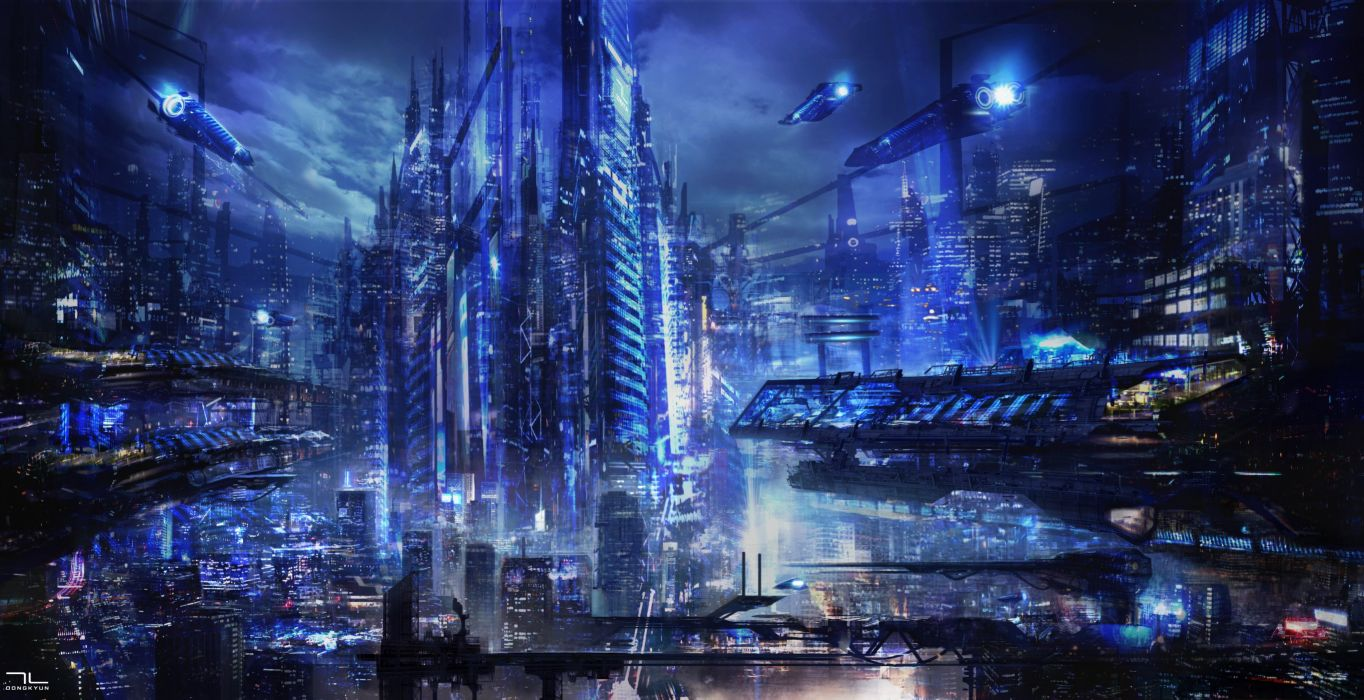 fantasy Art city transportation future blue amazing wallpaper