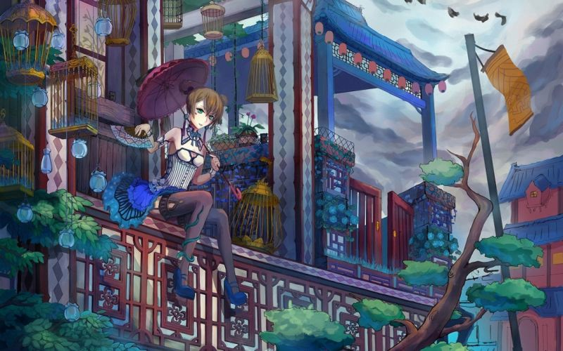 Art girl Sitting umbrella umbrella fan cells railing Birds so snake balcony home wallpaper