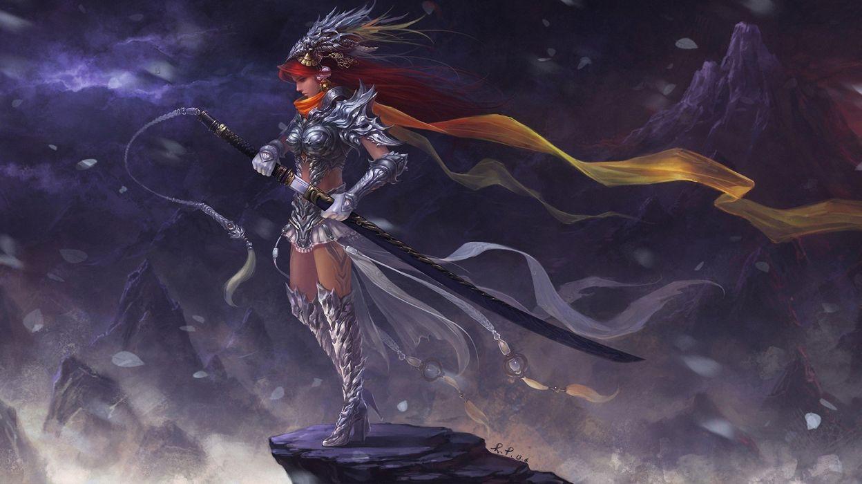 rock sword Art girl Fantasy Mountains wallpaper