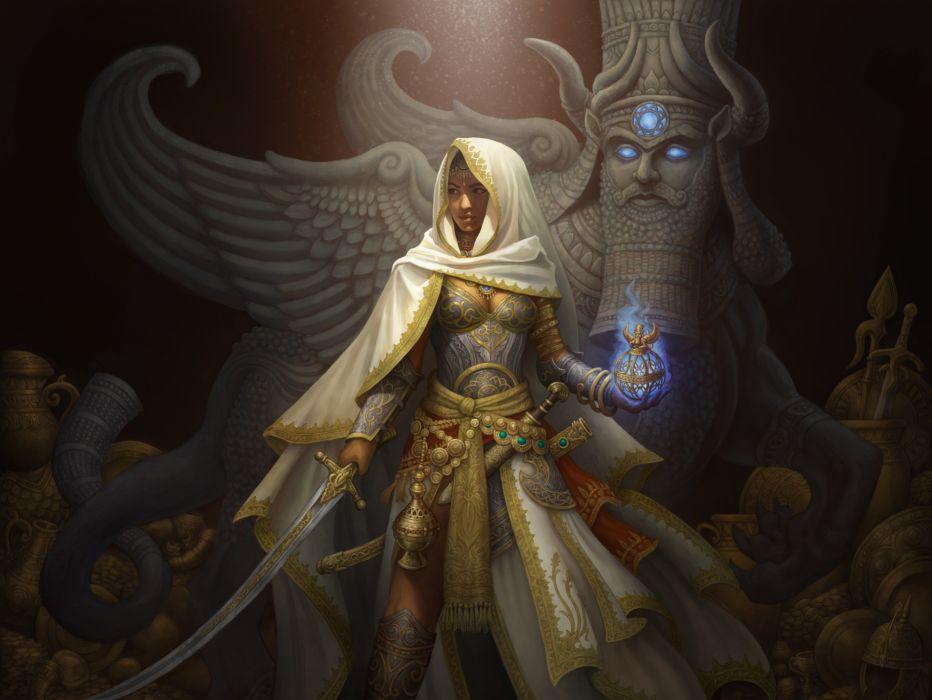 magic hood Art gold cloth artifact Fantasy girl light ornamentation wealth saber wallpaper