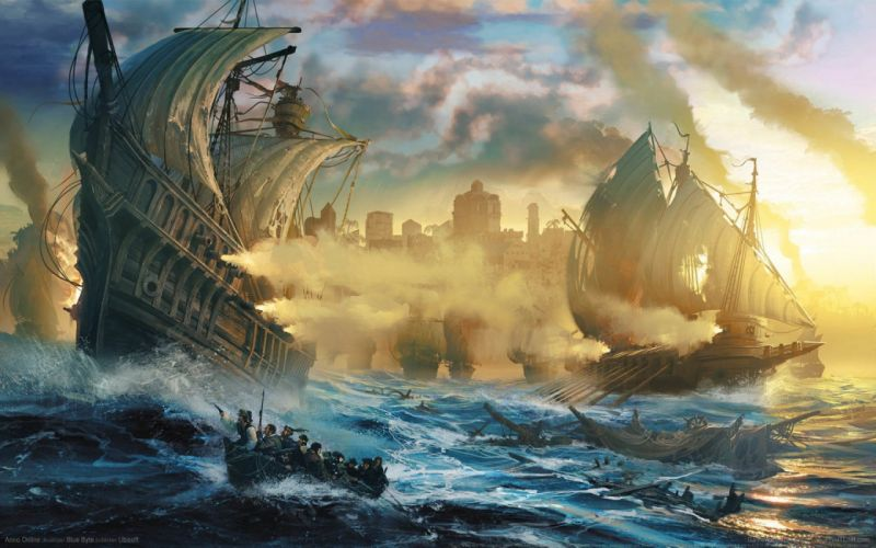 Anno Online game wallpapers sea waves ships sails boats wallpaper