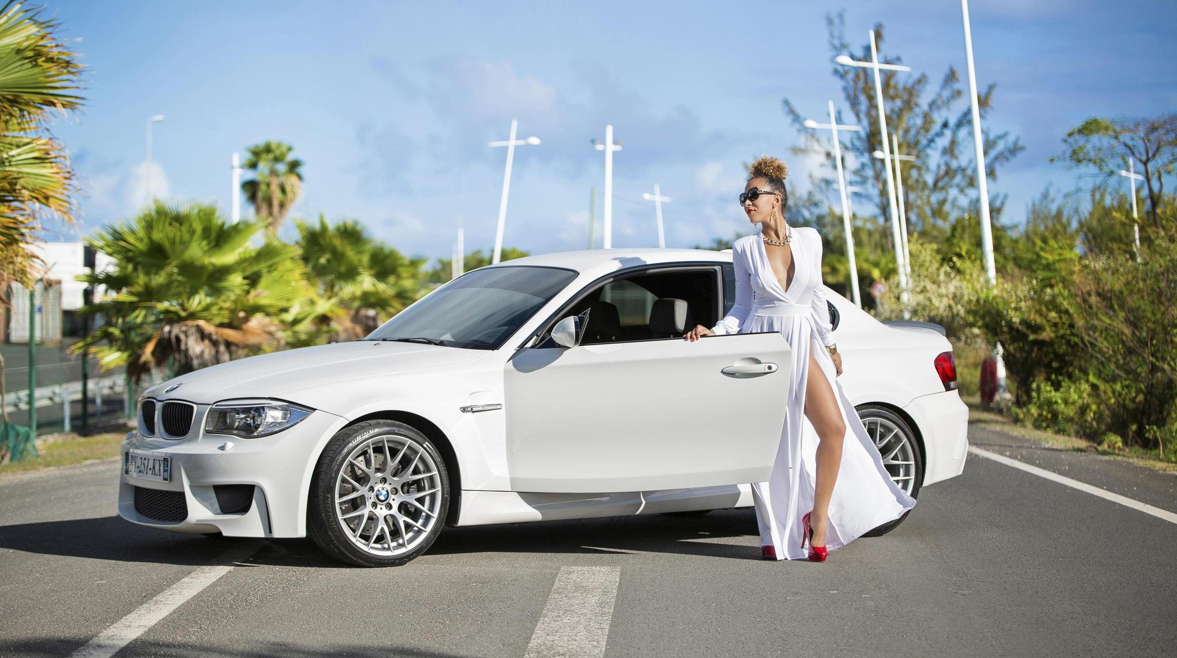 Girl Car Bmw Model Dress White Wallpaper 4096x2290