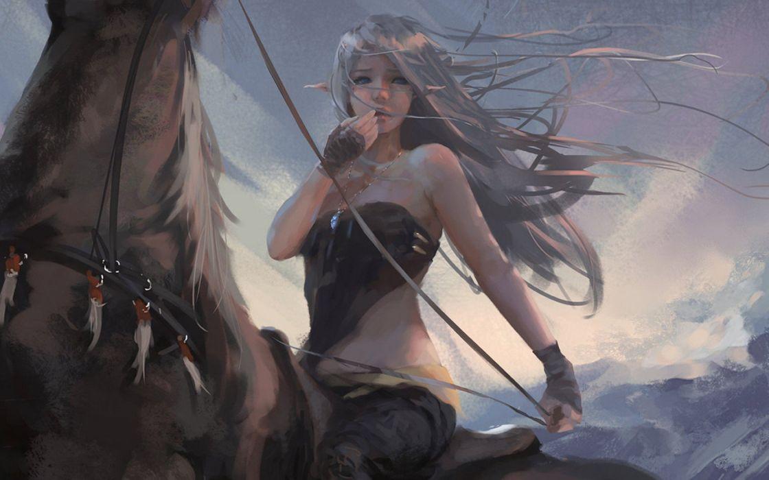 Girl elf blue eyes pendant a horse wind wallpaper