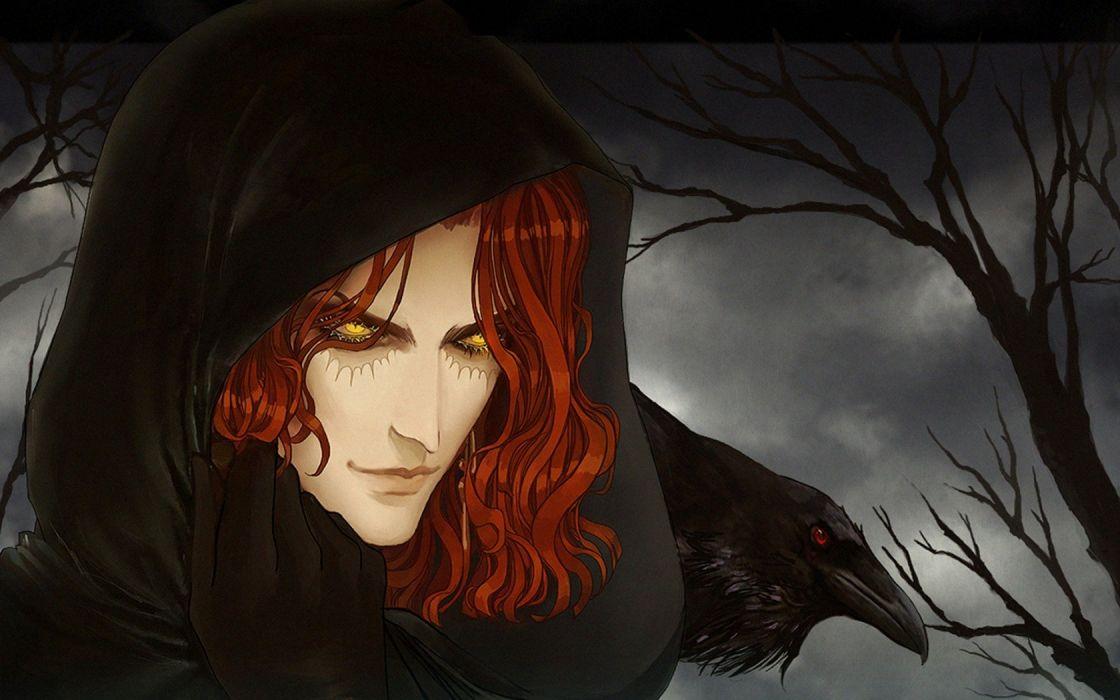 Guy red hair yellow eyes hood glove Raven wallpaper