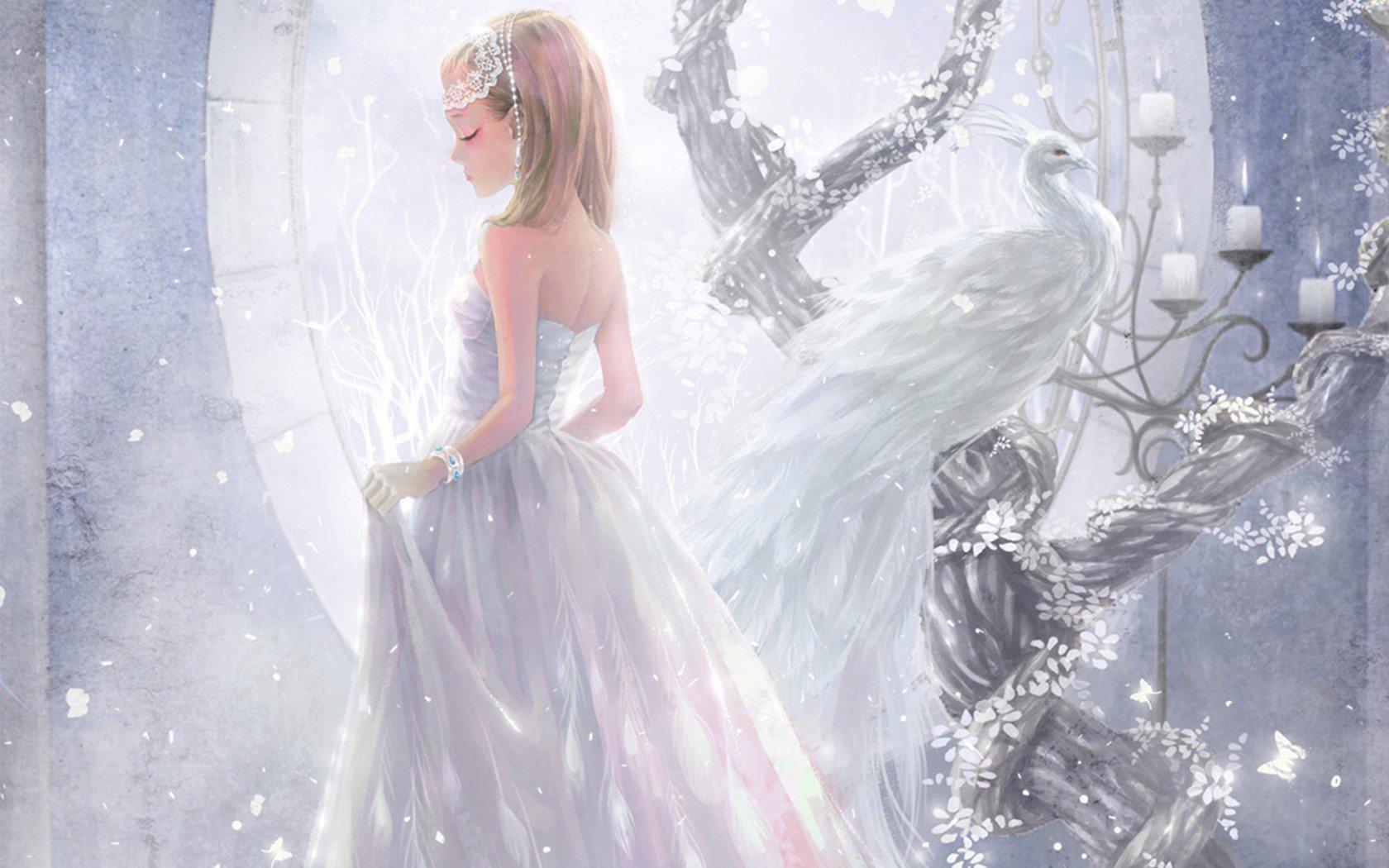 anime girl bracelet candles white peacock princess wallpaper