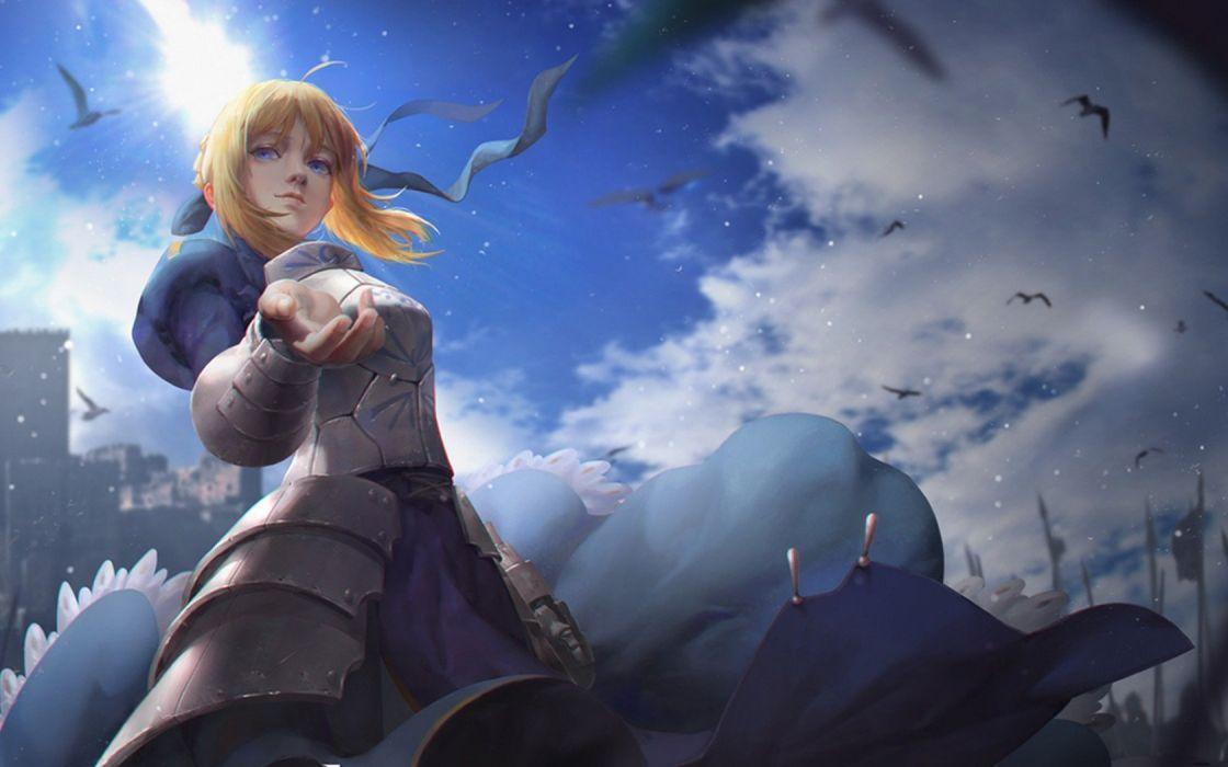 anime series fate stay night Girl armor castle birds spears wallpaper