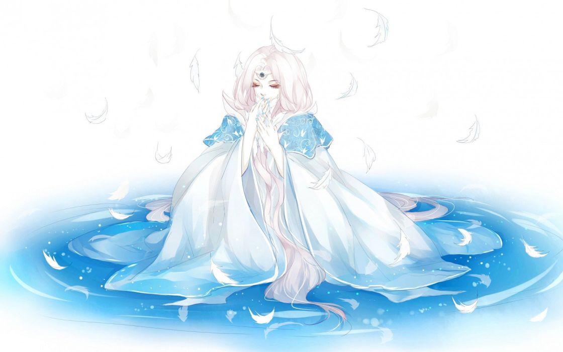Girl pens water feathers magic princess wallpaper