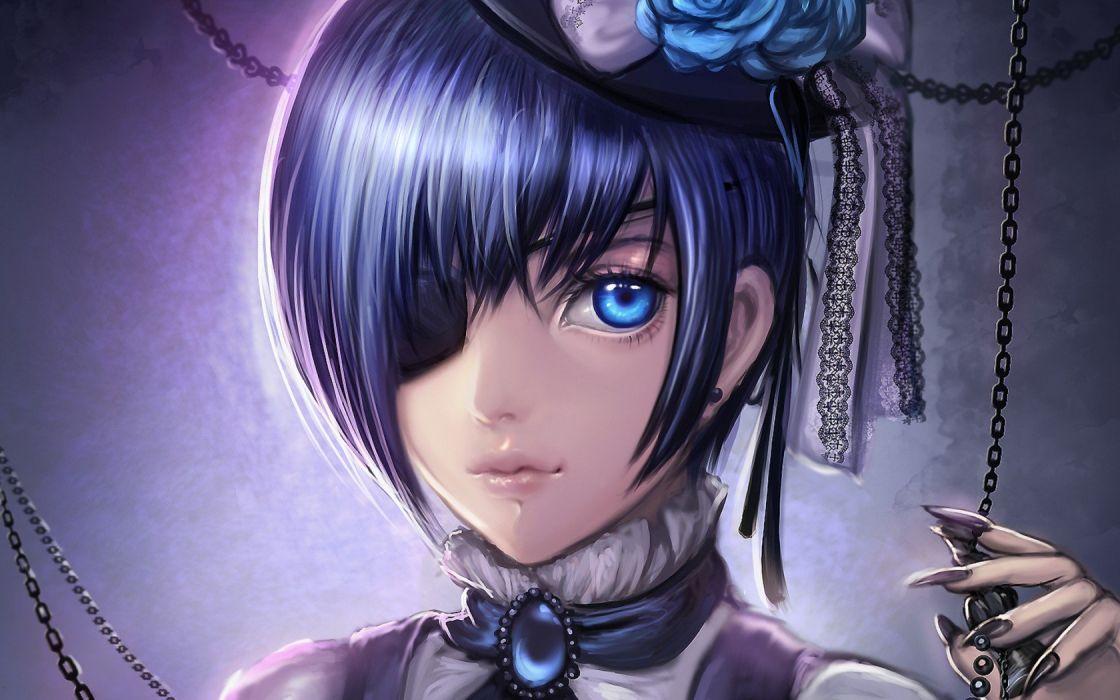 kuroshitsuji dark Butler ciel phantomhive the guy dressing chain flowers wallpaper