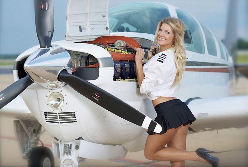 World war plane girl pinup plane model woman smile