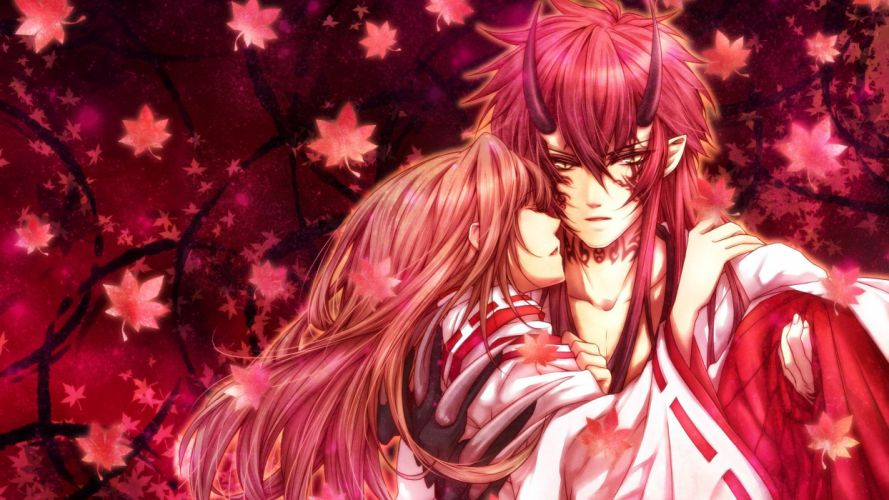 scarlet fragments demon anime Art clutches guy girl foliage Horns wallpaper
