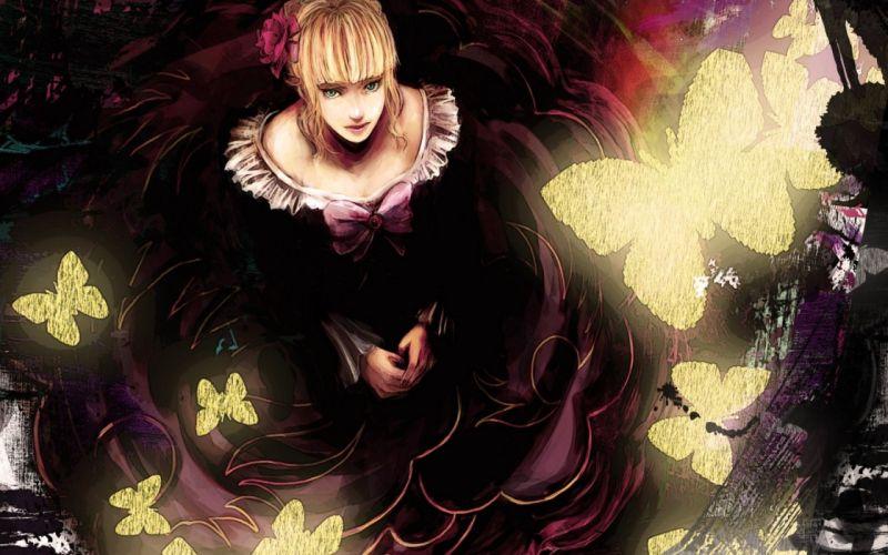art-tsuyomaru-umineko-no-naku butterfly yellow girl blonde wallpaper