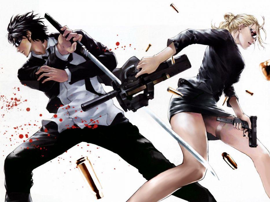 men women guns anime blood katana wallpaper