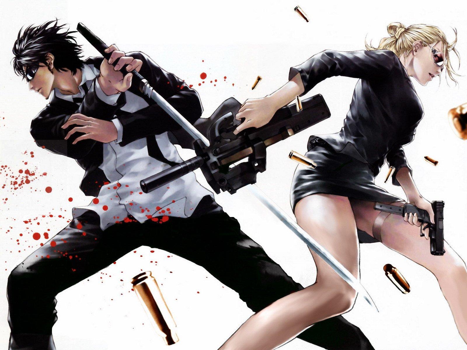 men women guns anime blood katana wallpaper | 1600x1200 | 488990