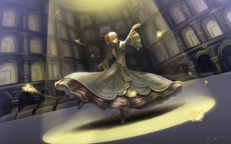 art-madcocoon-anime-kogda dance yellow kight city dress butterfly magic wallpaper