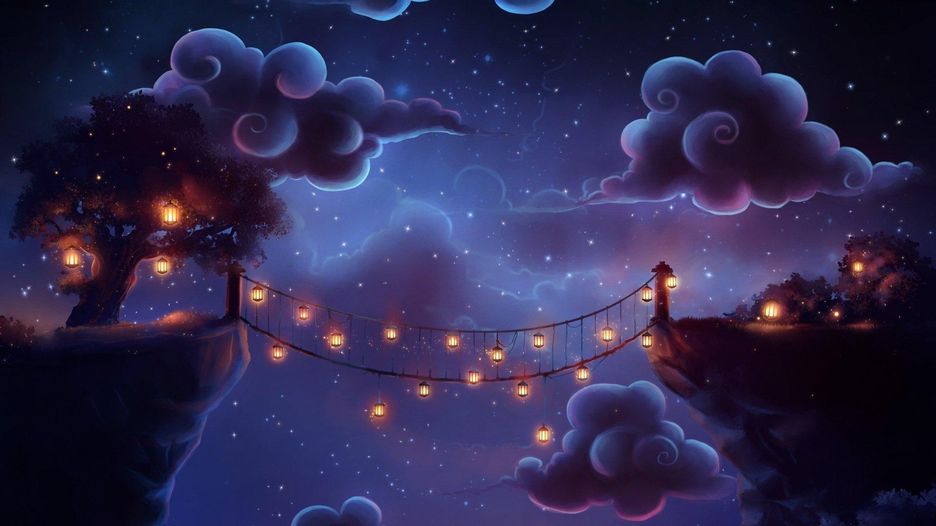 Bridge flashlights clouds night fantasy magic wallpaper - Fantasy wallpaper bridge ...