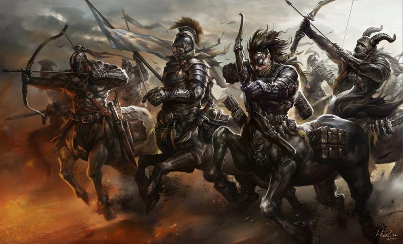 running onions army weapon archer movement Centaurs banner Art wallpaper