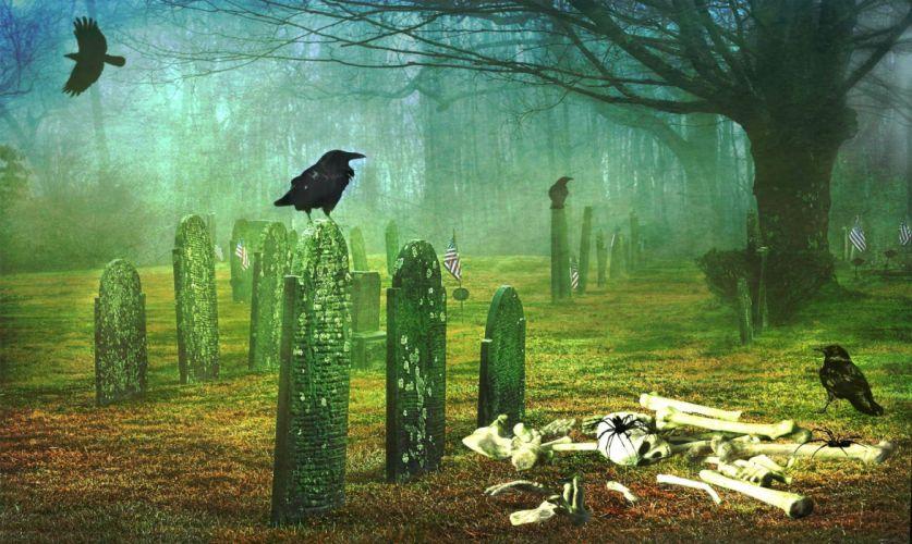HALLOWEEN dark gothic fantasy cemetery grave skeleton skull wallpaper