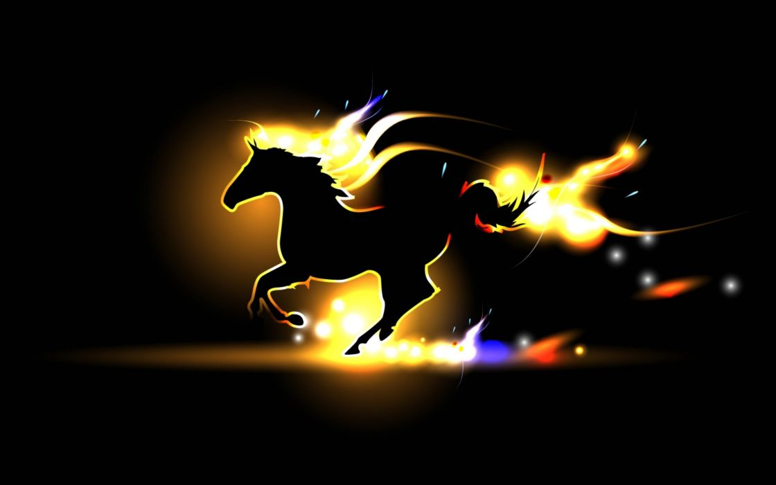 horse gait flame fire GRIVA silhouette wallpaper