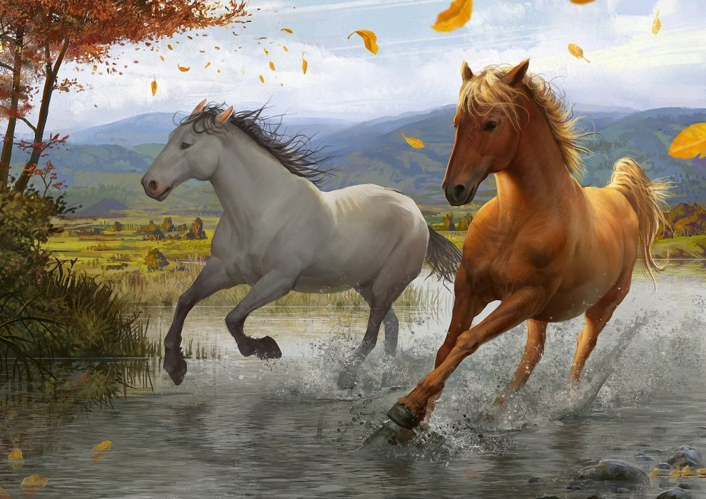 Art foliage wind tree river running spray horse wallpaper