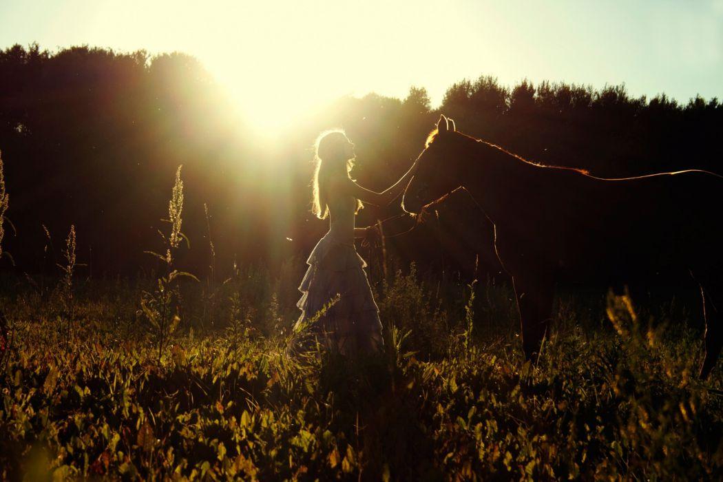 summer field horse girl sun amazing beautiful wallpaper
