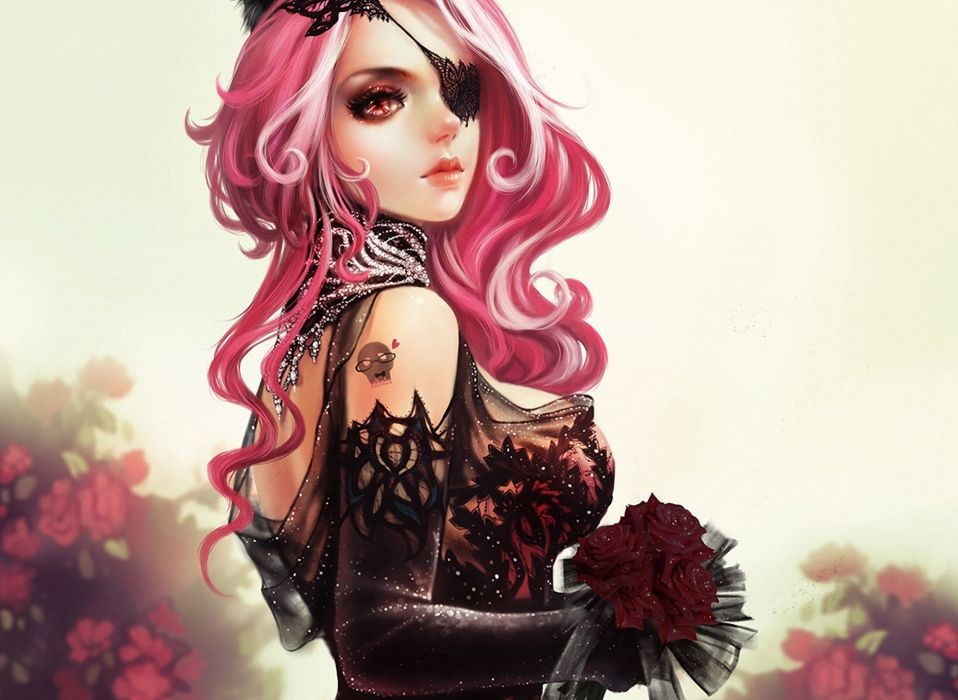 dressing Flowers lace Art bouquet pink hair girl wallpaper